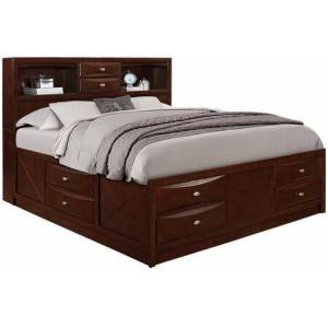 Global Furniture USA Linda Collection LINDA-M-QB (M) Queen Size Storage Bed with 4 Footboard Drawers  2 Side Drawers  2 Headboard Drawers  2 Open Shelf Space  Metal Pulls