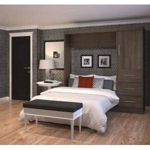 """Bestar Furniture 25892-52 Nebula 84"""" Full Wall Bed Kit Including One Door and Three Drawers with Simple Pulls in"""