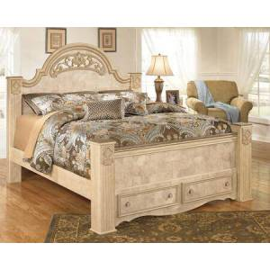 Ashley Saveaha Collection B346-70/68/66S/99 King Size Poster Storage Bed with Fluted Style Feet  Metallic Champagne Tipped Beads and Replicated Maple and