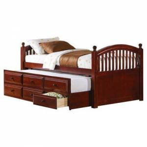 Benzara BM206586 Wooden Twin Size Daybed with Trundle and Three Spacious Drawers