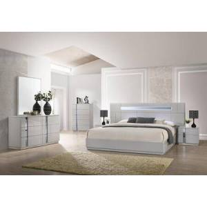J and M Furniture Palermo Collection 17714QSET 5-Piece Bedroom Set with Queen Size Bed  Dresser  Mirror  Chest and 2 Nightstands in Gray