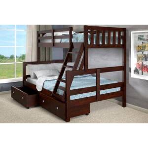 Donco 1566-TFCP_505-CP Twin/Full Bunk Bed With Dual Under Bed Drawers in Dark Cappuccino