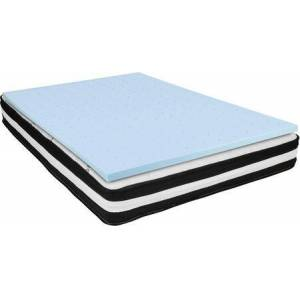 Flash Furniture Capri Comfortable Sleep Collection CL-E230P10-2M35-K-GG 10-Inch Pocket Spring King Size Mattress and 2-Inch Gel Memory Foam Topper Bundle with
