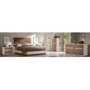 ESF Evolution EVOLUTIONBEDKS-2NSCHDRMR 6-Piece Bedroom Set with King Sized Bed  2 Nightstands  Chest  Dresser and Mirror in White and