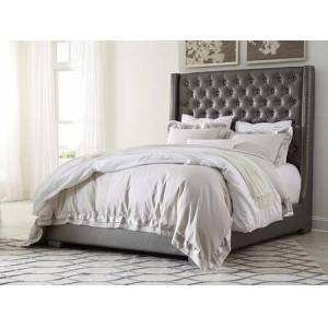 Ashley Coralayne Collection B650-78-76 King Size Bed with Faux Leather Upholstery  Faux Diamond Button Tufting  Tall Headboard Low Profile Design and