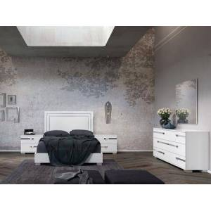 Casabianca Wave Collection CBWV01K4SET 4 PC Bedroom Set with King Size Bed  Dresser and 2 Nightstands in White