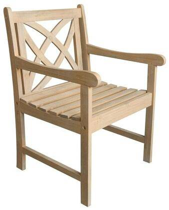 Vifah Beverly Collection V1702 Outdoor Garden Armchair with Decorative Back Armrests Acacia Hardwood Materials Slatted and Contoured Seat in Sand-Splashed