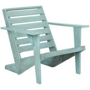 Safavieh Lanty Collection PAT6746C Adirondack Chair with Contemporary Style  Wooden Armrest  Ladder Back Design and Acacia Wood Construction in Oriental Blue