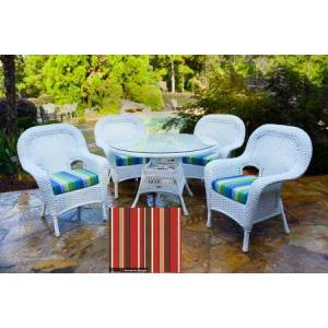 """Tortuga Sea Pines Collection LEX-5DS1-W-MONS 5-Piece Dining Set with 4 Dining Chairs and 48"""" Dining Table in White Wicker and Monserrat Sangria Fabric"""