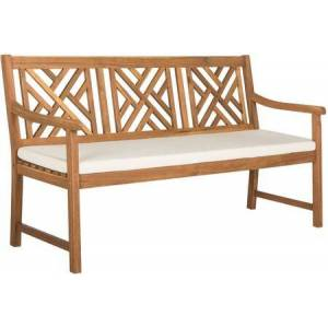 """Safavieh Bradbury Collection PAT6738A 60"""" Outdoor Bench with Foam Filled Cushions  Traditional Style  Geometric Design  Acacia Wood Construction and Polyester"""