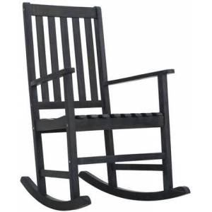 Safavieh Barstow Collection PAT6707K Outdoor Rocking Chair with Shaker Style  Slat Backrest  Footrest Support and Acacia Wood Construction in Dark Slate Grey