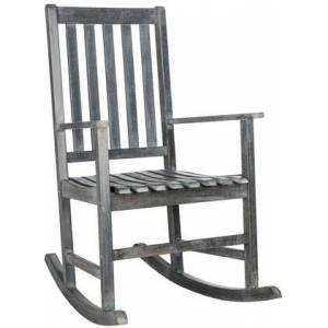 Safavieh Barstow Collection PAT6707B Outdoor Rocking Chair with Shaker Style  Slat Backrest  Footrest Support and Acacia Wood Construction in Ash Grey