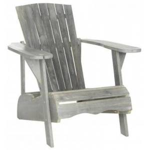 Safavieh Vista Collection PAT6727B Adirondack Chair with Wine Glass Holder  Eco-Friendly  Tall Slatted Backrest and Acacia Wood Construction in Ash Grey
