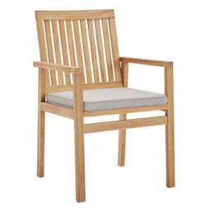 Modway Farmstay Collection EEI-3718-NAT-TAU  Outdoor Patio Teak Wood Dining Armchair with FSC Certified Teak Wood Frame  All-Weather Washable Cushion Cover