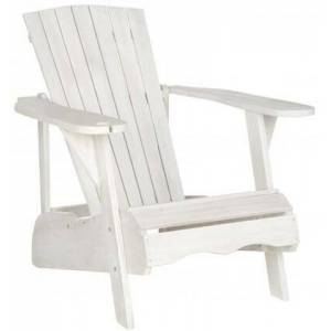 Safavieh Vista Collection PAT6727C Adirondack Chair with Wine Glass Holder  Eco-Friendly  Tall Slatted Backrest and Acacia Wood Construction in Antique White