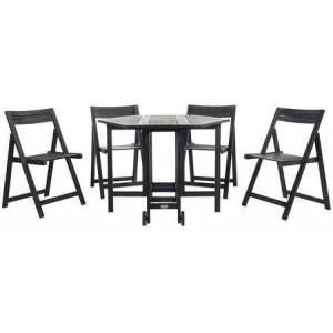 Safavieh Kerman Collection PAT7000C 4 PC Outdoor Dining Set with Foldable Hexagonal Shaped Table  Director-Style Chairs  Footrest Support and Eco-Friendly