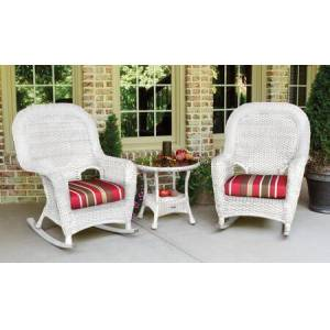Sea Pines Collection LEX-RT3-W-MONS 3-Piece Rocker and Table Set with 2 Rockers and 1 Side Table in White Wicker and Monserrat Sangria Fabric