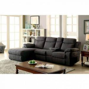 """Furniture of America Kamryn Collection CM6771GY-SECTIONAL 101"""" 2-Piece Reclining Sectional with Left Arm Facing Chaise and Right Arm Facing Console Loveseat in"""