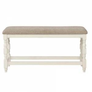 """Coaster Silva Collection 109586 50"""" Bench with Oatmeal Color Seat Cushion  Bottom Stretchers and Beautiful Turned Leg Posts in Vintage Latte and Oatmeal"""
