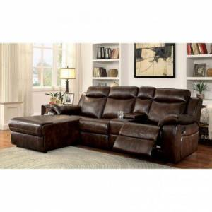 """Furniture of America Hardy Collection CM6781BR-SECTIONAL 101"""" 2-Piece Reclining Sectional with Left Arm Facing Chaise and Right Arm Facing Console Loveseat in"""