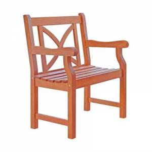 Vifah Balthazar Collection V99 Outdoor Wood Arm Chair X-Back Design In Natural