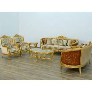 European Furniture Luxor Collection Luxury 3 Pieces Set with 1 Sofa + 1 Loveseat + 1 Chair  in Gold Leaf Gold