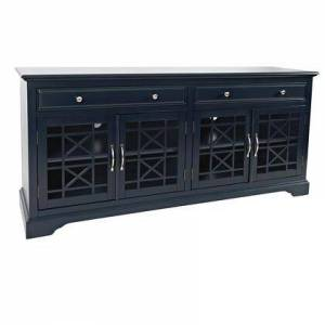 Benzara BM208485 70 Inch Media Unit with 2 Drawers and 4 Doors with X motif details