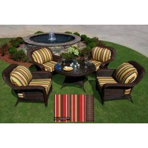 Sea Pines Collection LEX-5LDS1-J-MONS 5-Piece Conversation Table Set with 4 Club Chairs and 1 Conversation Table in Java Wicker and Monserrat Sangria