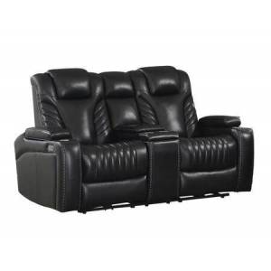 """Coaster Bismark Collection 609462PPI 74"""" Power Loveseat with USB Charger Outlets  Removable Cupholders & Storage and Plush Headrests in Black"""