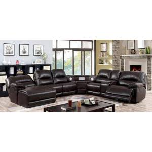 """Furniture of America Glasgow Collection CM6822BR-TSP-SECT 140.5"""" Sectional with Left Facing Chaise + 3 Armless Chairs + Wedge with Speaker + Console + Right Facing"""