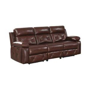Coaster Chester Collection 603441PP Power Reclining Sofa with Tufted Accents  Pillowtop Armrests and Power Outlet with USB Ports  in Chocolate
