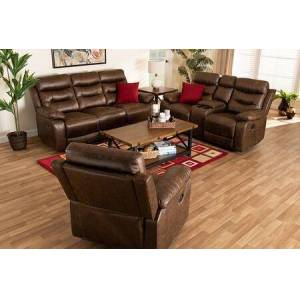 Wholesale Interiors Beasely Collection RR5227-DARK BROWN-3PC LIVING ROOM SET Modern and Contemporary Distressed Brown Faux Leather Upholstered 3-Piece Living Room
