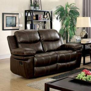 """Furniture of America Listowel Collection CM6992-LV 59"""" Reclining Love Seat with 2 Recliners  Stitched Detail and Bonded Leather Match in"""
