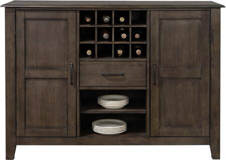 """Sunset Trading DLU-CA113-SR Cali Collection 58"""" Dining Servers with Simple Pull  Storage Drawers  Wine Storage  Decorative Hardware  Wood Veneer  Open Shelves and"""