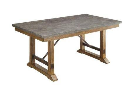 """Coaster Willowbrook 106981 40"""" Rustic Industrial Dining Table with Bluestone Top  Apron and Tapered Legs in"""
