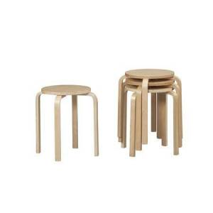 Linon 1771NAT-04-AS-U Stool with Bentwood Frame in Natural