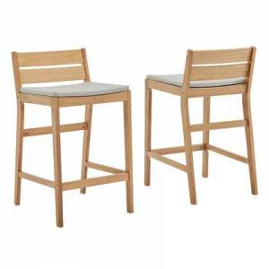Modway Riverlake Collection EEI-4010-NAT-TAU  Outdoor Patio Ash Wood Bar Stool Set of 2 with FSC Certified Ash Wood  Foot Support Bar  Slatted Back and Seat