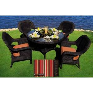 """Tortuga Sea Pines Collection LEX-5DS1-T-MONS 5-Piece Dining Set with 4 Dining Chairs and 48"""" Dining Table in Tortoise Wicker and Monserrat Sangria Fabric"""