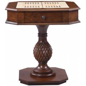 """Acme Furniture Bishop II Collection 82847 28"""" Game Table with 2 Drawers  Checkers and Backgammon Reversible Game Boards  Square Shape  Pedestal Base and"""