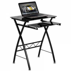 Flash Furniture NAN-CP-60-GG Black Tempered Glass Computer Desk with Pull-Out Keyboard