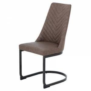 """New Pacific Direct 3000007-281 Kyla Collection 19"""" Dining Chair (Set of 2) with Brushed Brass Legs  Patterned Back Seat  PU Leather Upholstery and Plywood Construction"""