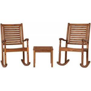 Walker Edison OGWRCST3BR 3-Piece Traditional Rocking Chair Outdoor Chat Set with Slatted Square Side Table in