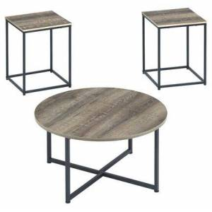 Ashley Wadeworth Collection T103-213 3-Piece Occasional Table Set with One Round Table and 2 Square End Table in