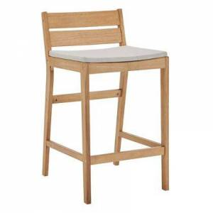 Modway Riverlake Collection EEI-3716-NAT-TAU  Outdoor Patio Ash Wood Bar Stool with FSC Certified Ash Wood  Foot Support Bar  Slatted Back and Seat in