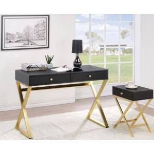 Acme Furniture Coleen Collection 92310SET 2 PC Office Furniture with Desk + Side Table in Black ad Brass