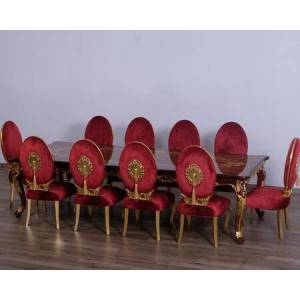 European Furniture Luxor Collection 11 Pieces Set with 1 Dining Table + 10 Side Chairs  Gold Leaf Details  in Natural Rosewood and Red Burgundy