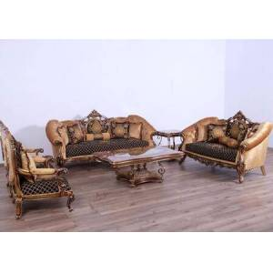 European Furniture Rosella Collection Luxury 3 Pieces Set 1 Sofa + 1 Loveseat + 1 Chair  in Black and Parisian