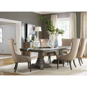 Hooker Furniture 5701-RDT6UC 7-Piece Vintage West Collection Dinining Room Set with Rectangle Dining Table + 6X Upholstered Chairs  in