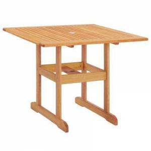 """Modway Hatteras Collection EEI-3674-NAT 36"""" Square Outdoor Patio Eucalyptus Wood Dining Table with FSC Certified Eucalyptus Wood  Slatted Wood Top and"""