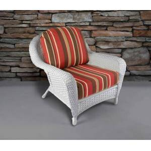 Tortuga Sea Pines Collection LEX-C1-W-MONS Club Chair in White Wicker and Monserrat Sangria Fabric